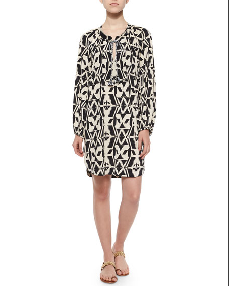 T Bags Tribal-Print Shift Shirtdress, Black/White