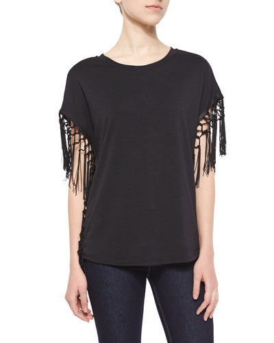 Fringe Jersey Top, Black