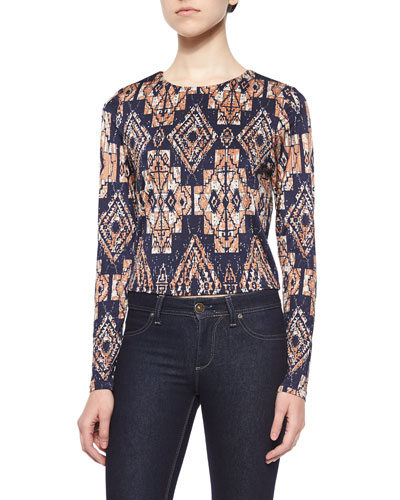 Long-Sleeve Tribal-Print Top, Navy/Multi Colors