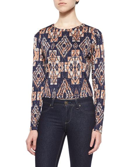 T Bags Long-Sleeve Tribal-Print Top, Navy/Multi Colors