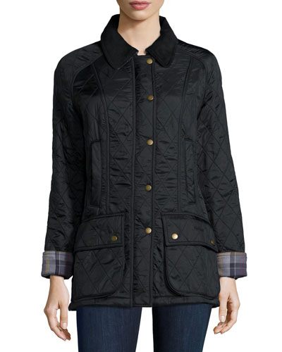 Beadnell Polar Diamond Quilt Jacket with Fleece Lining, Black