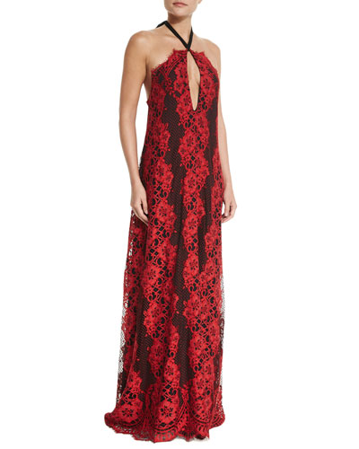 Lace Open-Back Maxi Dress, Red/Black