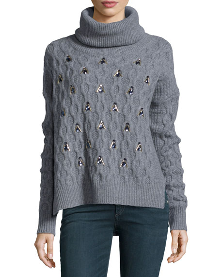 Embellished Merino Wool Sweater, Medium Gray