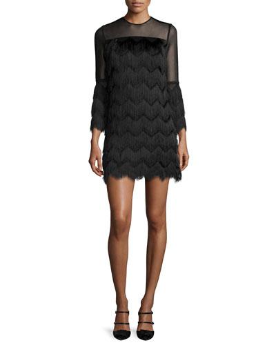 Xiomarra Long-Sleeve Tiered-Fringe Shift Dress, Black