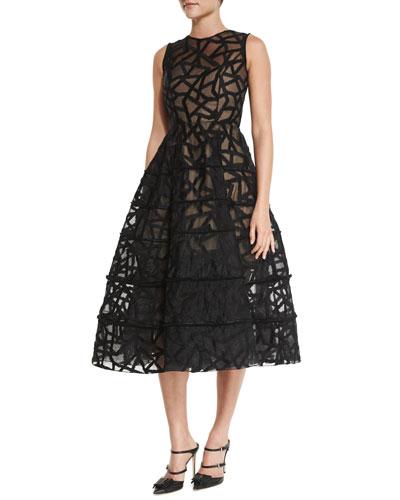 Fausto Sleeveless Fil Coupe Midi Dress, Black