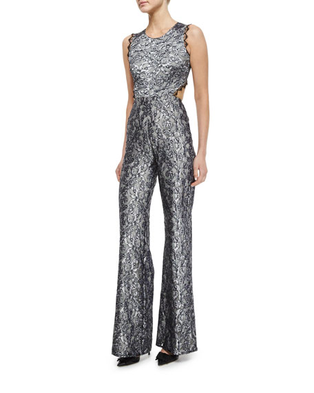 Image 1 of 2: Sleeveless Floral Lace Jumpsuit, Silver