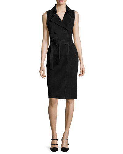 Dana Suede Double-Breasted Vest Dress, Black