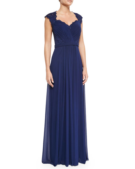 La Femme Belted Lace & Chiffon Gown, Navy