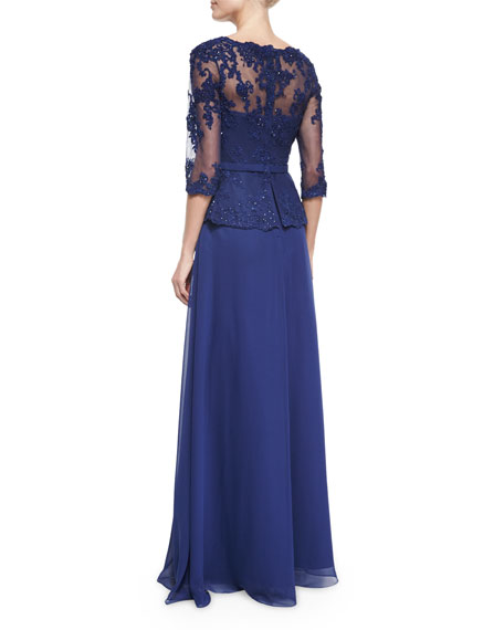 Lace-Bodice Tulle Gown, Navy