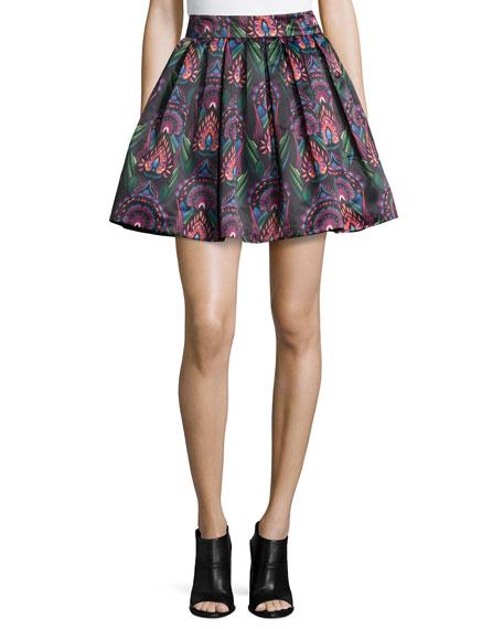 Alice + Olivia Stora Deco-Print Pleated Skirt
