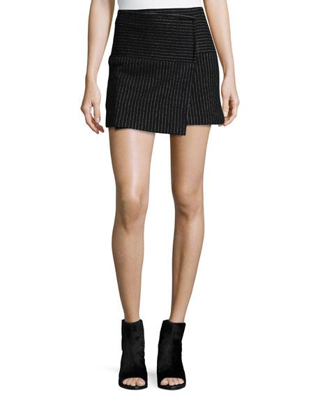 Alice + Olivia Lennon Shimmery Pinstripe Wrap Skirt