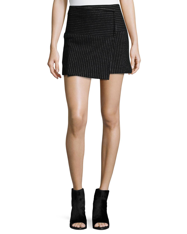 Alice Olivia Lennon Shimmery Pinstripe Wrap Skirt
