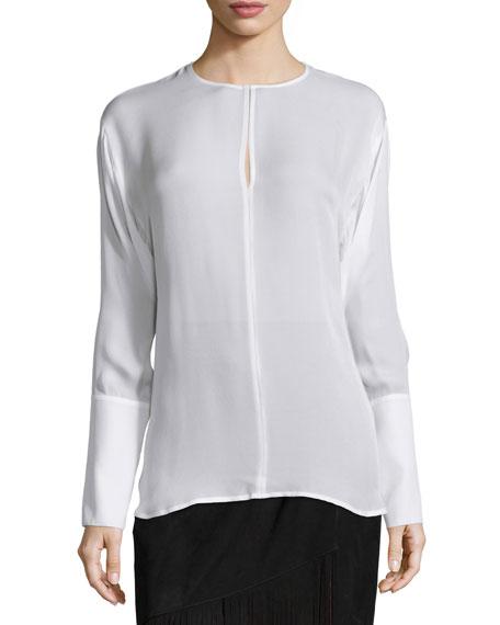 Tamara Mellon Long-Sleeve Silk Keyhole Blouse, Cream