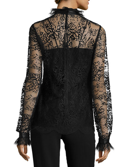 Butterfly Lace Turtleneck Blouse, Black