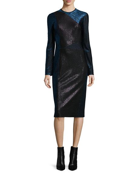 Tamara Mellon Long-Sleeve Metallic Colorblock Dress, Black/Dusk