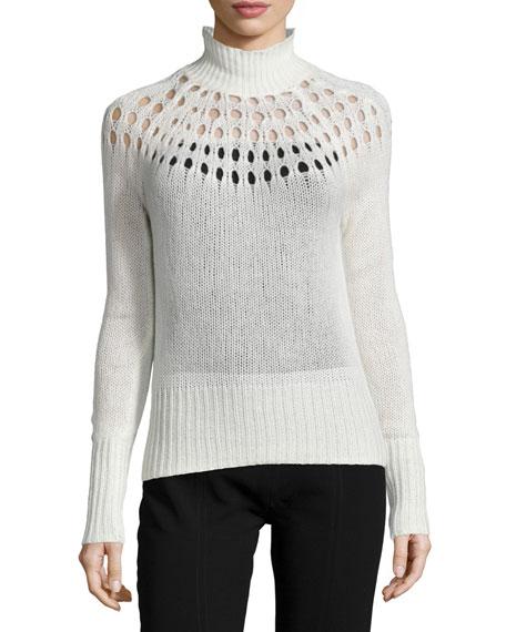 Tamara Mellon Pointelle Merino Turtleneck Sweater, Cream