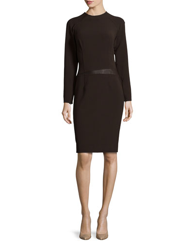 Micro Double-Face Dress with Leather Trim, Burgundy