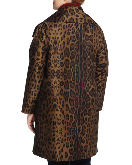 Oversized-Collar Snap-Front Coat, Custom Leopard, Women's