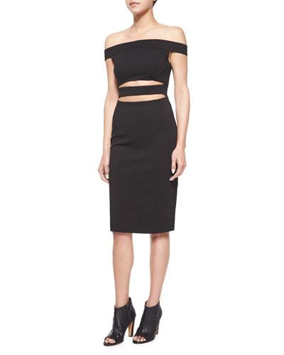 Off-The-Shoulder Cutout Dress, Black