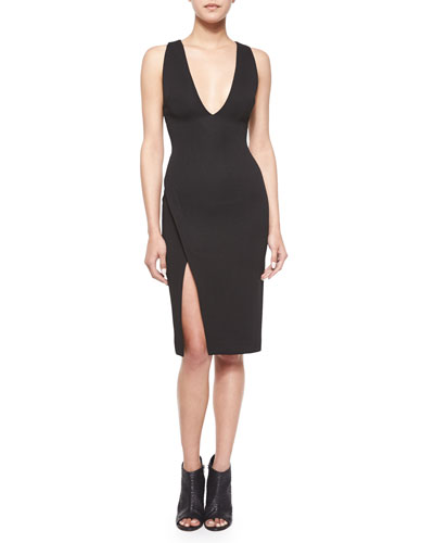Sleeveless Faux-Wrap Dress, Black