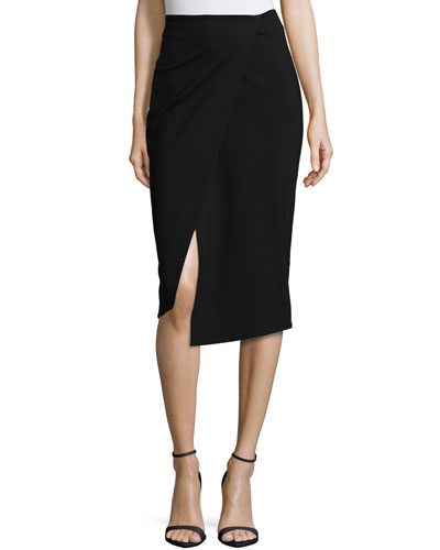 Ponti Wrap-Front Pencil Skirt, Black