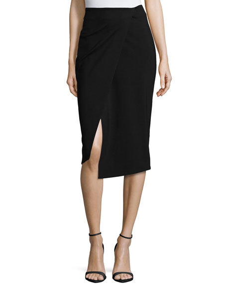 Nicholas Ponti Wrap-Front Pencil Skirt, Black