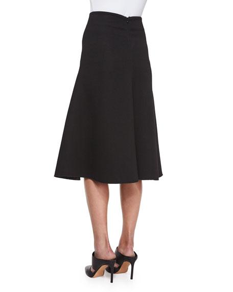 NICHOLAS Textured Ponte Flare Skirt, Black