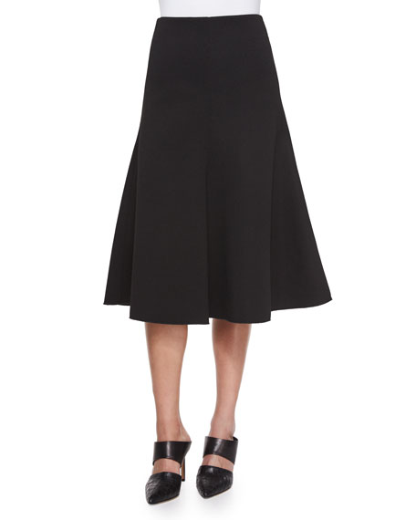 Textured Ponte Flare Skirt, Black