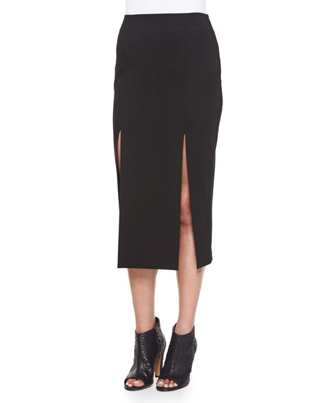 Midi Pencil Skirt W/Double-Slit, Black
