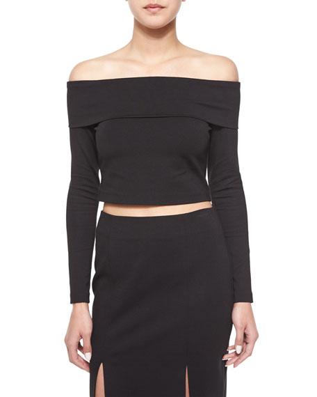 Long-Sleeve Crop Top, Black