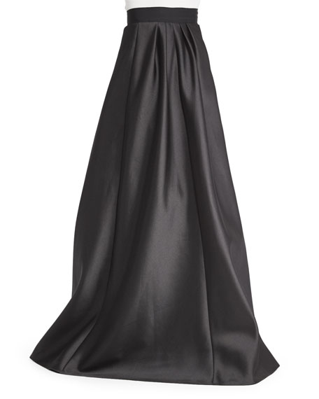 Carmen Marc Valvo Long Satin Ball Skirt