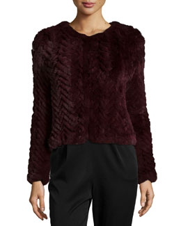 Marlene Zigzag Rabbit-Fur Coat, Merlot