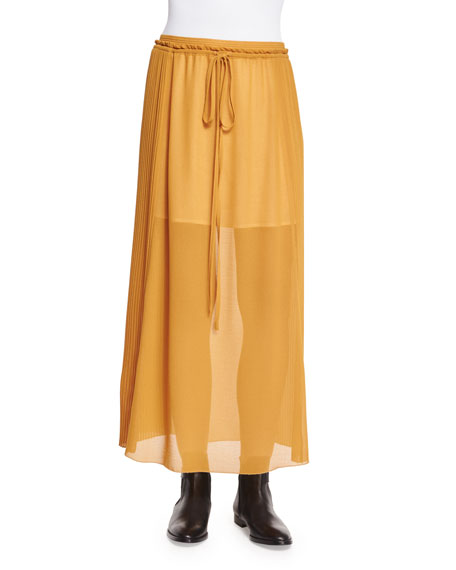See by Chloe Pleated Georgette Drawstring Skirt, Gold