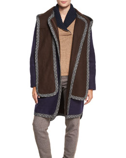 Double-Face Hooded Coat, Indigo