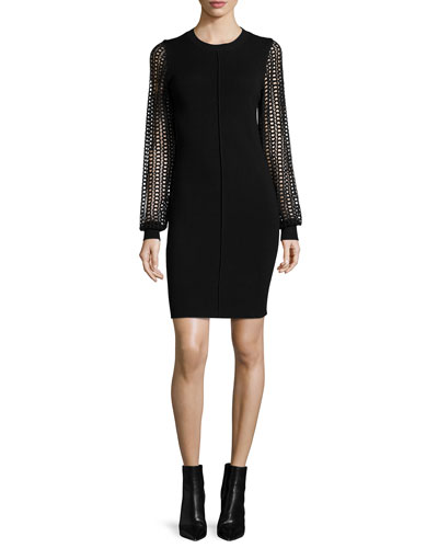 Knit Dress with Lace Sleeves, Black