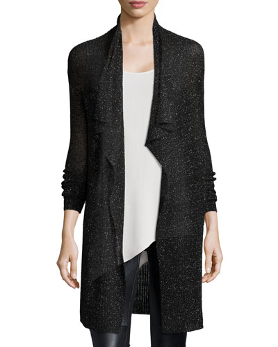 Shimmered Knit Draped Cardigan