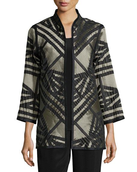 Caroline Rose Jacquard Jacket with Graphic Silk Trim,