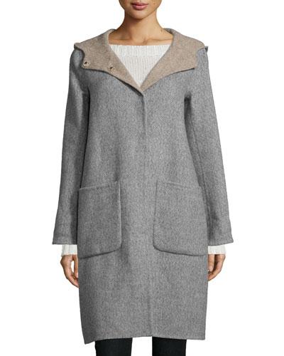 Alpaca Double-Face Knee-Length Coat, Petite