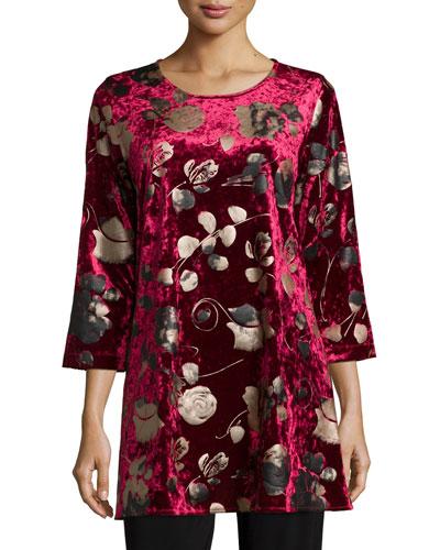 3/4-Sleeve Panne Velvet Tunic W/ Shimmer, Women's