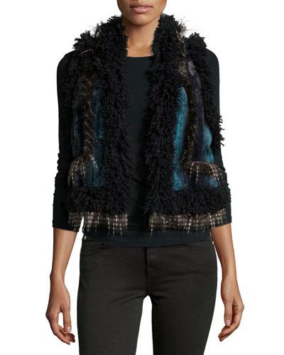 Ombre Chinchilla Faux-Fur Vest, Teal