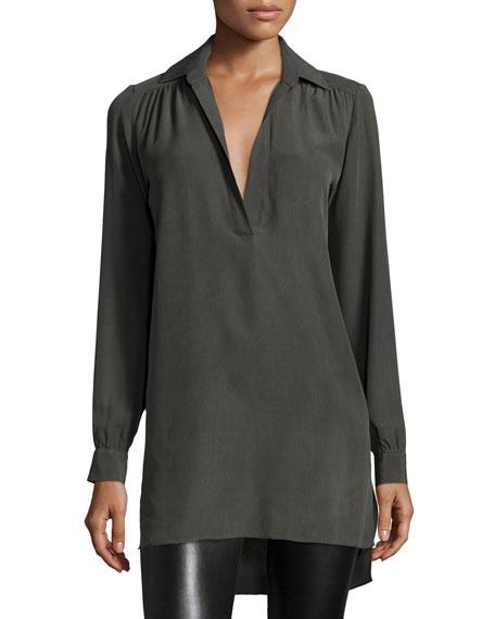 Alice Olivia Joleen Silk Pullover Top Gray Neiman Marcus