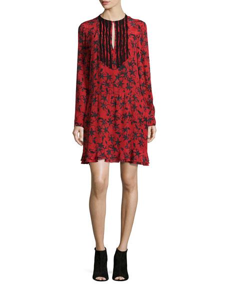 Remus Silk Long-Sleeve Dress, Rouge