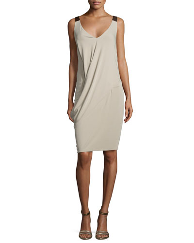 Sleeveless V-Neck Drape Dress, Twine