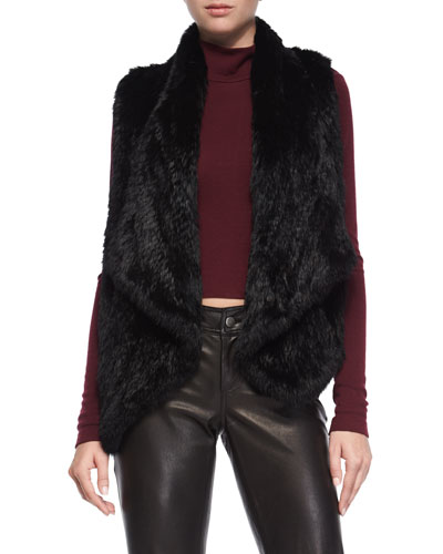 Harriet Rabbit-Fur Vest, Black