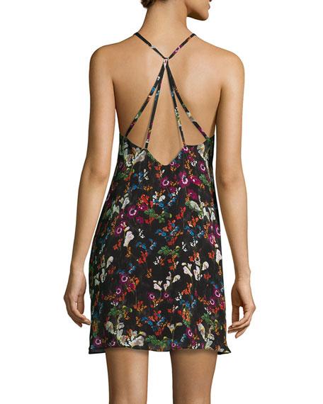 Ashelna Fall Garden Sleeveless Chiffon Mini Dress, Black/Multicolor