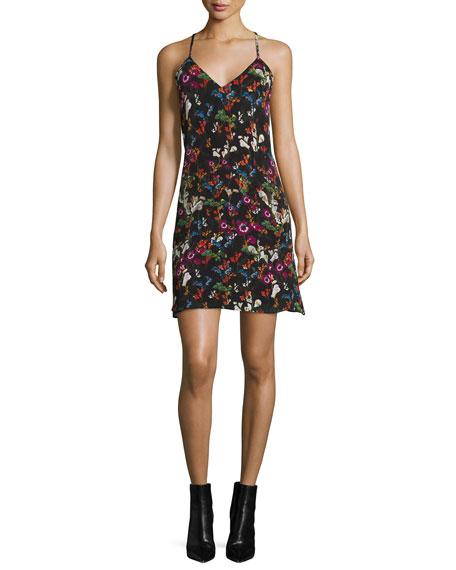 Alice + Olivia Ashelna Fall Garden Sleeveless Chiffon Mini Dress, ...
