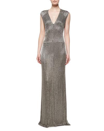 Sleeveless Linear Crystal Bugle Gown, Dark Lead