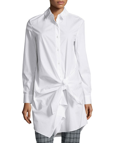 Long-Sleeve Side-Tie Shirtdress, White