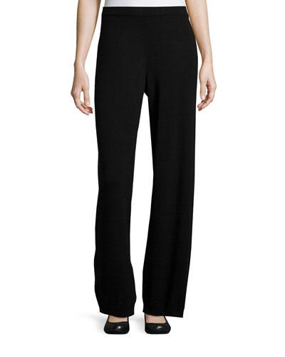 Wool-Cashmere Wide-Leg Pants, Black, Petite