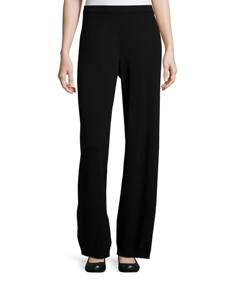 Joan Vass Wool-Cashmere Wide-Leg Pants, Black, Petite